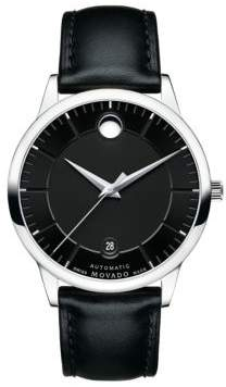 Movado 1881 Automatic Stainless Steel & Leather Strap Watch
