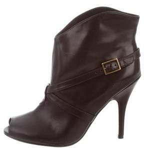 Delman Leather Peep-Toe Ankle Boots