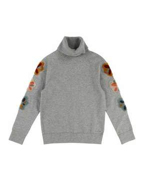 Chloé Mini Me Long-Sleeve Embroidered Turtleneck Sweater, Size 4-5