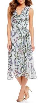 Donna Morgan Floral Print Ruffle Hem Midi Wrap Dress
