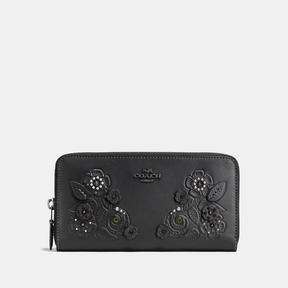COACH Coach Accordion Zip Wallet With Tea Rose And Tooling - DARK GUNMETAL/BLACK - STYLE