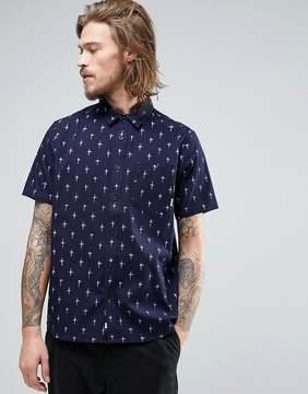 Element Hallen Short Sleeve Shirt Cross Print in Navy