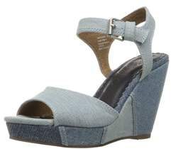 Naughty Monkey Womens Block Party Fabric Open Toe Casual Ankle Strap Sandals.