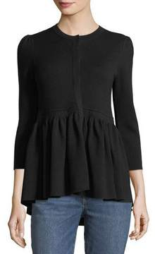 Co Button-Front Wool Knit Cardigan with Flounce Hem