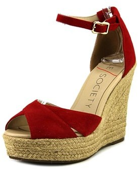 Sole Society Louanna Open Toe Suede Wedge Sandal.
