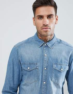 Pull&Bear Western Style Denim Shirt In Blue