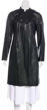 DKNY Long Leather Coat