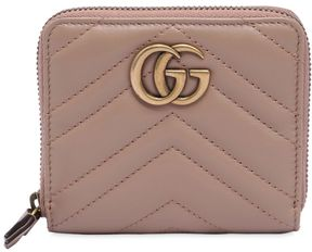 Gucci Small Gg Marmont 2.0 Leather Zip Wallet - PINK - STYLE