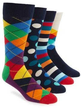 Happy Socks Men's 4-Pack Mixed Pattern Socks