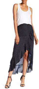 Planet Gold Print Ruffle Edged Wrap Skirt