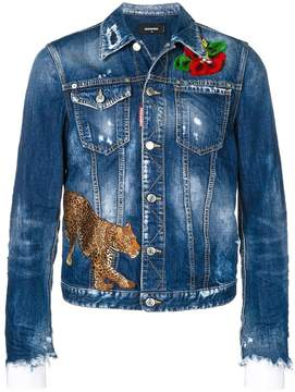 DSQUARED2 embroidered distressed denim jacket