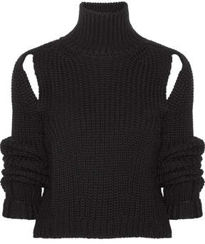 Calvin Klein Cropped Cutout Wool Sweater - Black