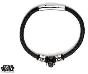 Star Wars Men's Stainless Steel Black PVD Plated Darth Vader Helmet and Galactic Empire Symbol Beads on Leather Wrap Bracelet