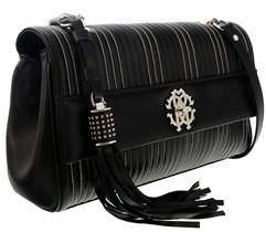 Roberto Cavalli Black Quilted Studded Leather Medium Shoulder Bag