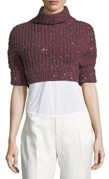 Brunello Cucinelli Cashmere-Silk Paillette Cropped Sweater