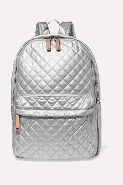 MZ Wallace Metro Leather-trimmed Metallic Quilted Shell Backpack - Silver