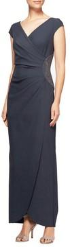 Alex Evenings Women's Embellished Faux Wrap Column Gown