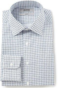 Murano Slim-Fit Spread-Collar Houndstooth Dress Shirt