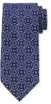 Charvet Large-Medallion Silk Tie, Blue