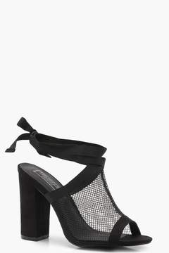 boohoo Lacey Mesh Wrap Strap Shoe Boots