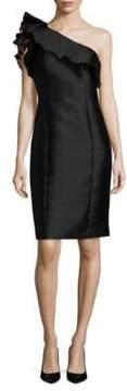 Badgley Mischka Ruffled One-Shoulder Dress