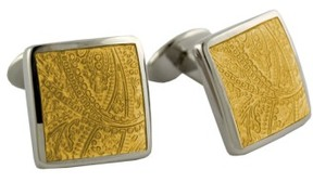 David Donahue Men's 'Paisley Lemon' Sterling Silver Cuff Links