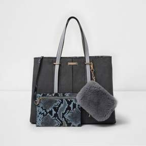 River Island Womens Grey large tote bag and snakeskin pouchette