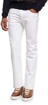 Ermenegildo Zegna Slim-Straight Denim Jeans, White