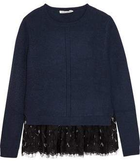 Autumn Cashmere Lace-Trimmed Cashmere Sweater