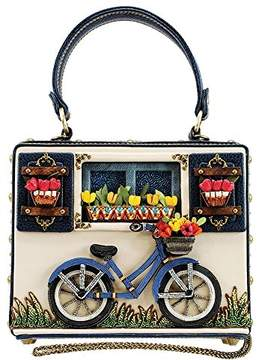 Mary Frances Ride On Beaded Bicycle Novelty Top Handle bag