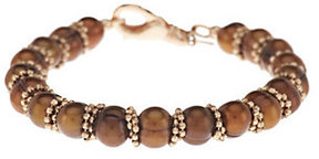 Honora As Is Cultured Pearl 7.5mm Ringed 8 Bronze Bead Bracelet