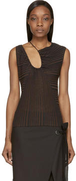 CNC Costume National Black Zucca Striped Drape Top