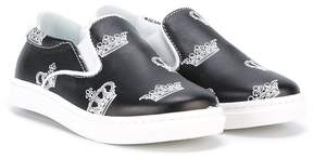 Dolce & Gabbana crown print slip-on sneakers