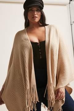 Forever 21 Plus Size May Logan Ribbed Knit Fringe Poncho