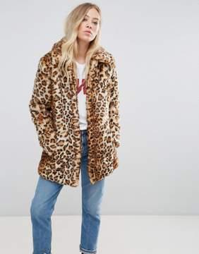B.young Leopard Print Faux Fur Jacket