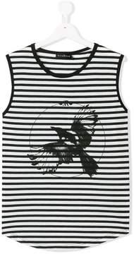 John Richmond Kids striped bird print tank top