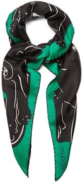 VALENTINO Panther-print silk-satin scarf