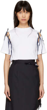 Facetasm SSENSE Exclusive White and Navy Tie T-Shirt