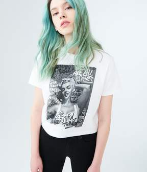 Aeropostale Marilyn Monroe Graffiti Crop Graphic Tee