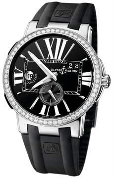 Ulysse Nardin Executive Dual Time Black Dial Diamond Bezel Black Leather Men's Watch 243-00B-3-42