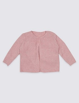 Marks and Spencer Pure Cotton Ribbed Cardigan