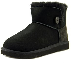 UGG Mini Bailey Button Youth Round Toe Suede Black Winter Boot.
