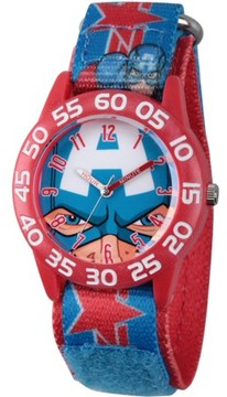 Marvel Marvel's Avengers: Captain America Boys' Red Plastic Time Teacher Watch, Red Hook and Loop Captain America Stretchy Nylon Strap