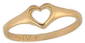 Ice 14K Gold Heart Ring for Little Girls (Size 2.5)