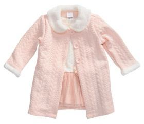 Sweet Heart Rose Sweetheart Rose Baby Girl's Two-Piece Organic Dress and Faux Fur Collar Coat Set