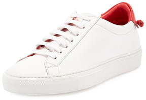 Givenchy Calfskin Low-Top Sneaker, White/Red