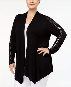 Belldini Plus Size Studded Open-Front Cardigan
