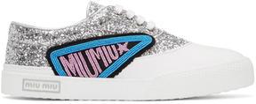 Miu Miu Silver Glitter Patch Sneakers
