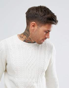 Pull&Bear Cable Knit Sweater In Cream