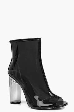boohoo Lena Peeptoe Clear Heel Shoe Boot